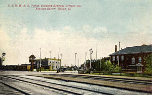 Postcard view of the Boone train yard.