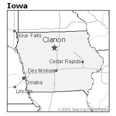 location of Clarion, Iowa