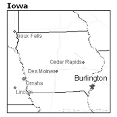 location of Burlington, Iowa