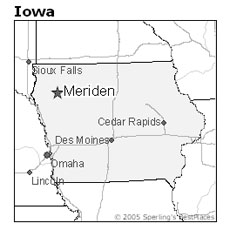 location of Meriden, Iowa