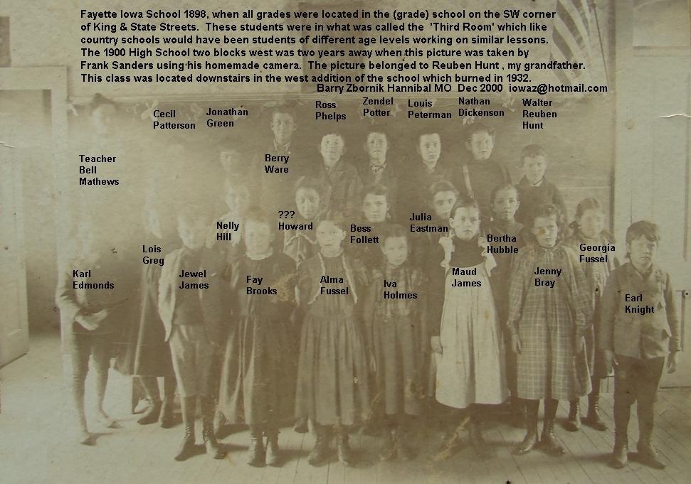 Third Room Fayette Iowa School 1898