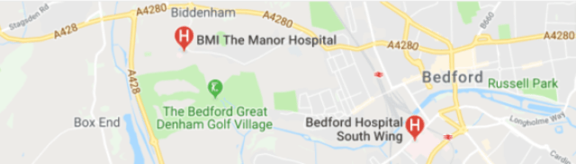 hospitals in Bedfordshire