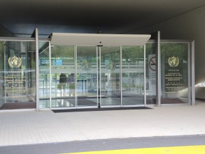 entrance to WHO headquarters