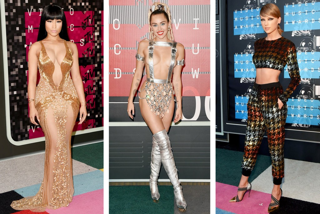 Copy that! Nicki Minaj, Miley Cyrus and Taylor Swift at last night's 2015 MTV Awards