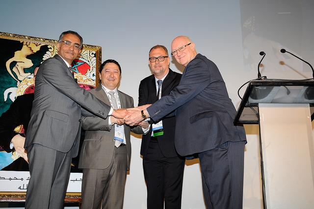Three CEOS and a Chair - outgoing CEO Fadi Chehadé, interim CEO Akram Atallah, incoming Göran Marby, and Board Chairman Steve Crocker