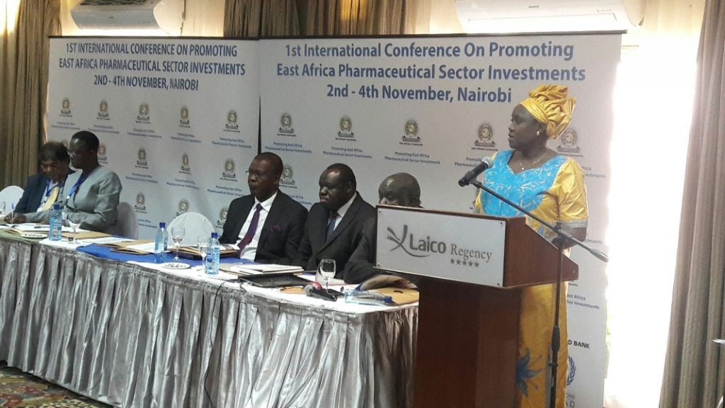 Josiane Nijimbere, Minister of Public Health and the fight against AIDS in Republic of Burundi addresses the participants at the conference.