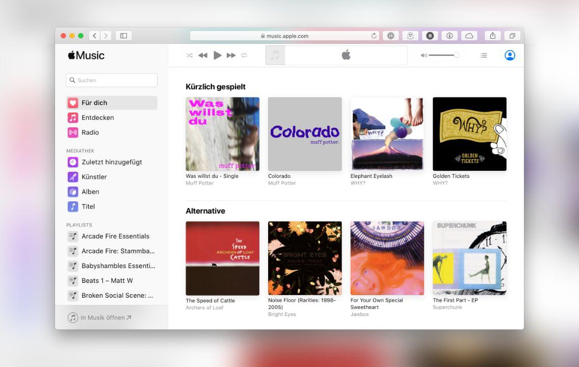 Apple Musik im Webbrowser