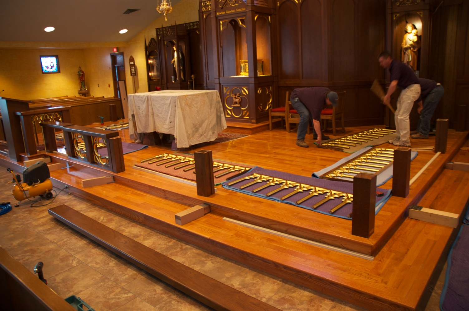 Installation of the altar rail on March 6, 2010