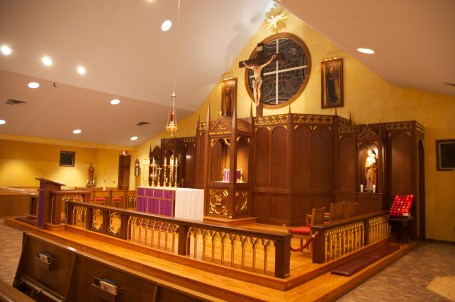 The altar rail installation complete