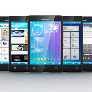 Mobile applications. Group of mobile phones are frontally on a white background