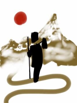 El caminante-version libre-dibujo digital