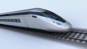 Computer-generated visuals of a high speed train. HS2. For editorial usage only.