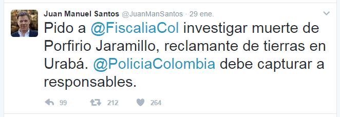 En su cuenta Twitter el presidente, Juan Manuel Santos, pidió investigar el asesinato del reclamante de tierras.