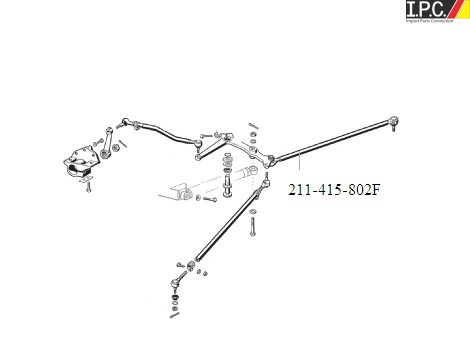 VW Bus 1968-1979 Steering Tie Rod Assembly (Right) I.P.C