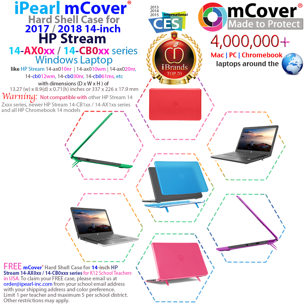 medium resolution of mcover hard shell case for hp stream 14 ax000 series 14 windows laptop and hp