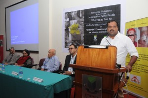 Health Minister Sri U T Khader speaking on the occasion of the media workshop held at Yenepoya University, Mangalore on Tobacco control issues