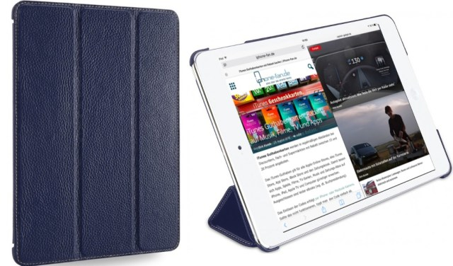 StilGut iPad Air 2 Hülle Couverture aus Leder in Navyblau