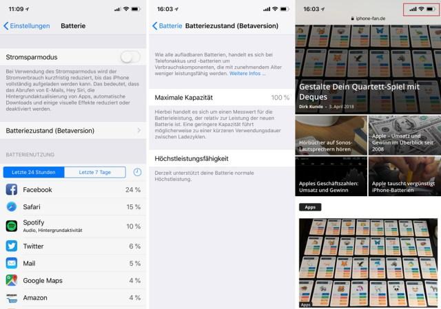 Batteriezustand iPhone iOS 11.3
