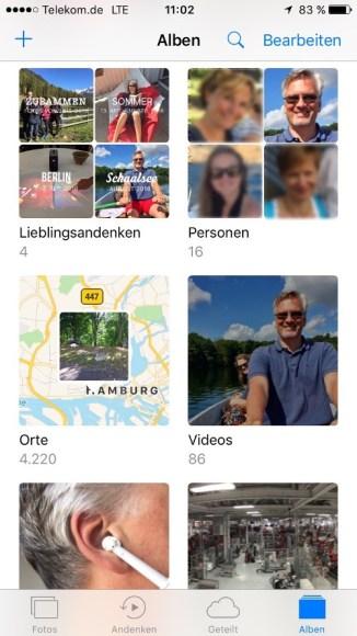 Fotos Alben iOS 10