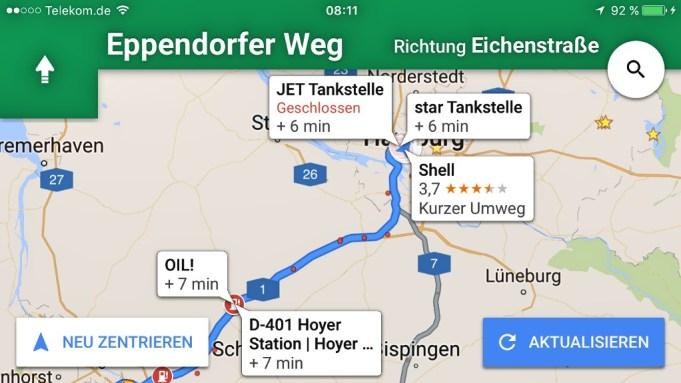 Google Maps Navigation mit Zwischenstopps