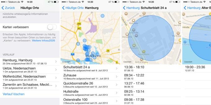 "Funktion ""Häufige Orte"" in iOS 7"