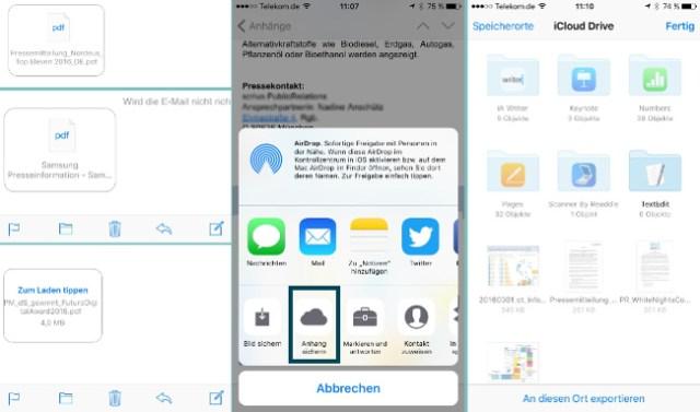Mail Anhänge in iCloud speichern
