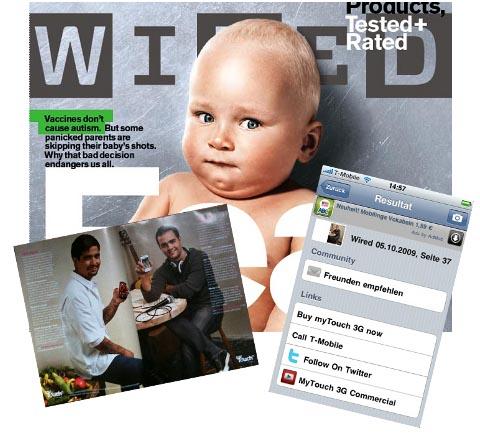 Foto mit Kooaba eine Anzeige in Wired machen und Zusatzinfos erhalten