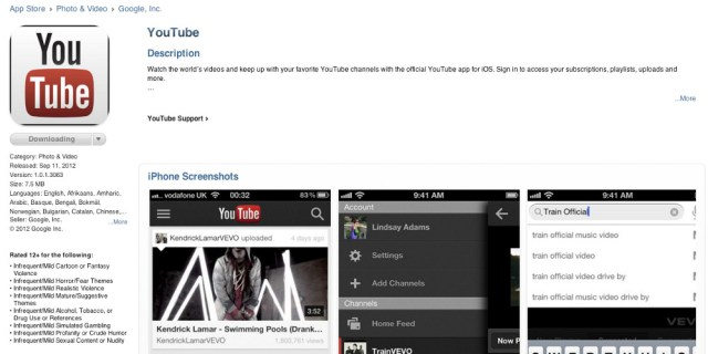 YouTube App iPhone