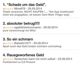 """Schlechte Noten: Für die App """"Phone Tracker – Finden Sie Freunde"""" hagelt es harte Kritik in deutlicher Sprache."""