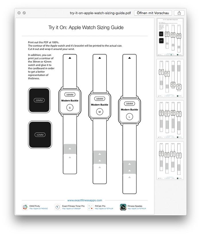 PDF-Schablone: Alle Apple Watch-Varianten zum Drucken und