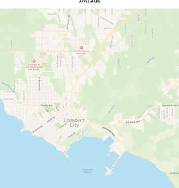 Vegetation in Apple Maps in Crescent City