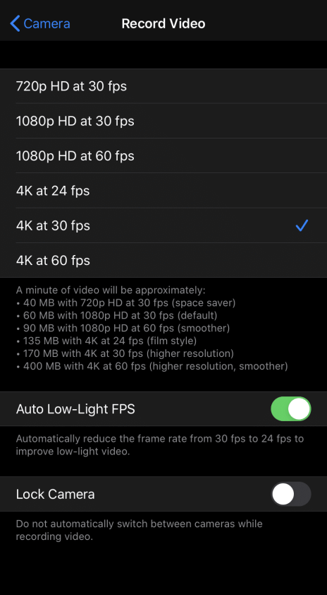 iPhone 11 4K Video Recording Setting