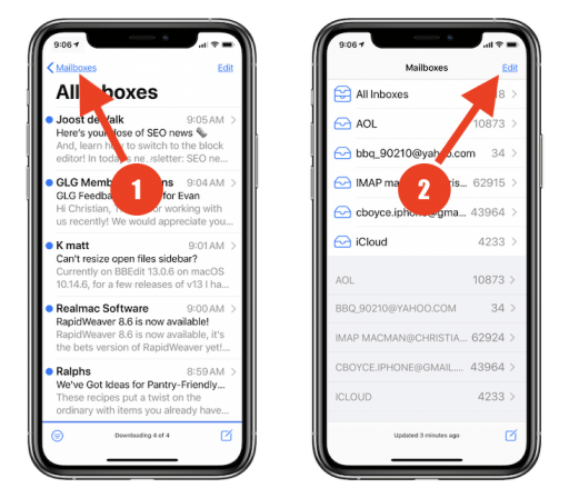 """First tap """"Mailboxes"""" at top left... then tap """"Edit"""" at top right. Do not skip a step and go straight to tapping Edit! That's for something else."""