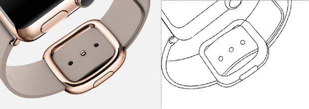 """Kairėje """"Apple Watch"""", o dešinėje brėžinys iš """"Samsung"""" patento"""
