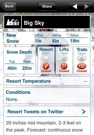 Snow and Ski Report iphone 4