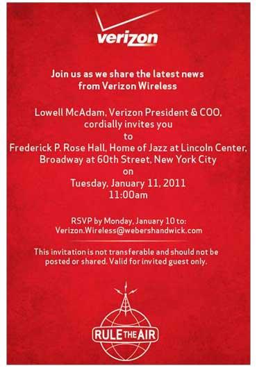 Verizon evento speciale 11 gennaio