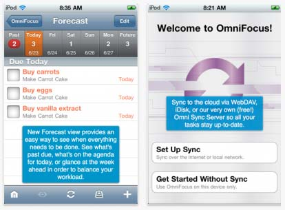 OminiFocus per iPhone: aggiornamento disponibile