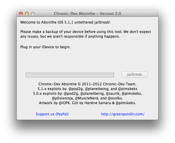 Absinthe 2.0 untethered jailbreak iOS 5.1.1 step 3