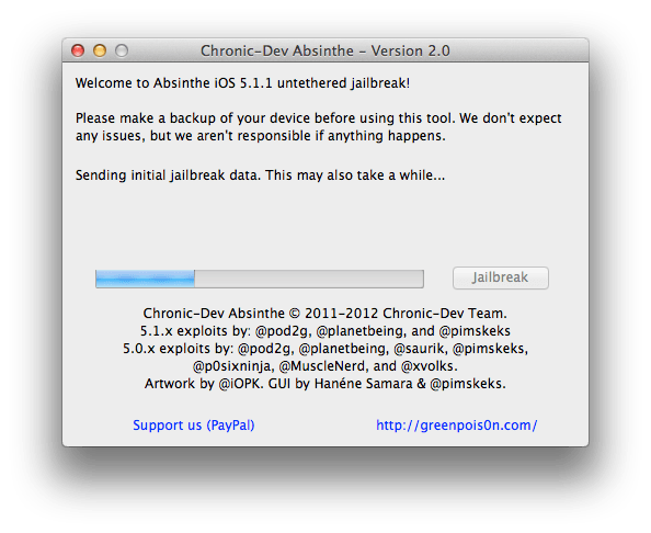 Absinthe 2.0 untethered jailbreak iOS 5.1.1 step 5-2