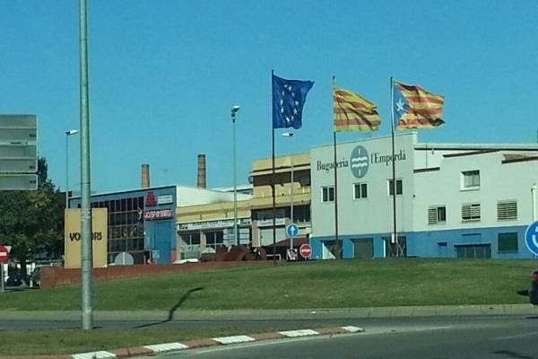 Bandera estelada en un municipio del PSC