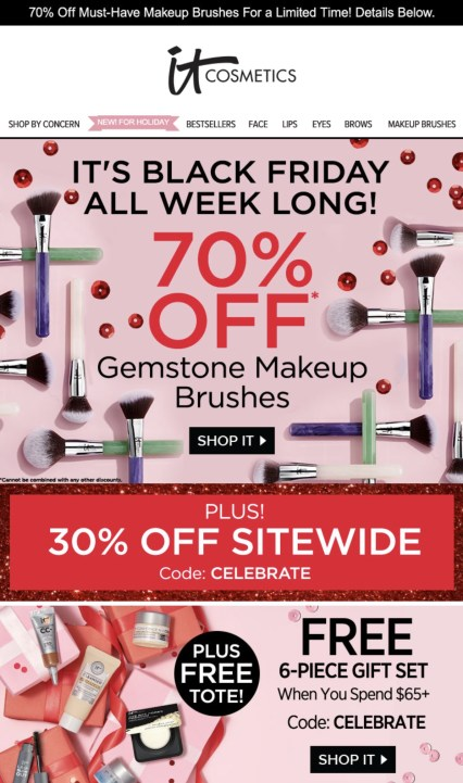 IT cosmetics 70% off black friday email offer