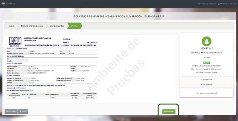 Paso 9 - En la pestaña Previa, visualizará en forma preliminar la solicitud de Comunicación de Numeración Utilizada Marangatu
