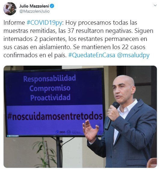 Julio Mazzoleni en su cuenta de Twitter