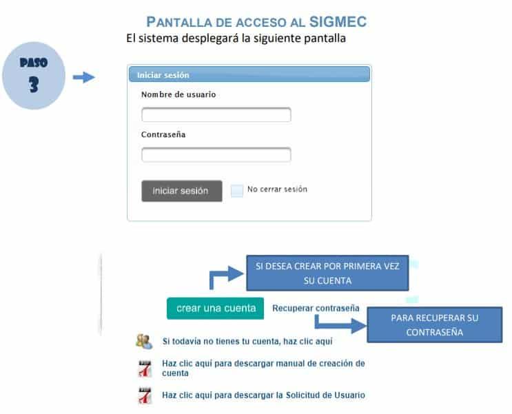 El sistema desplegará la pantalla de acceso al SIGMEC