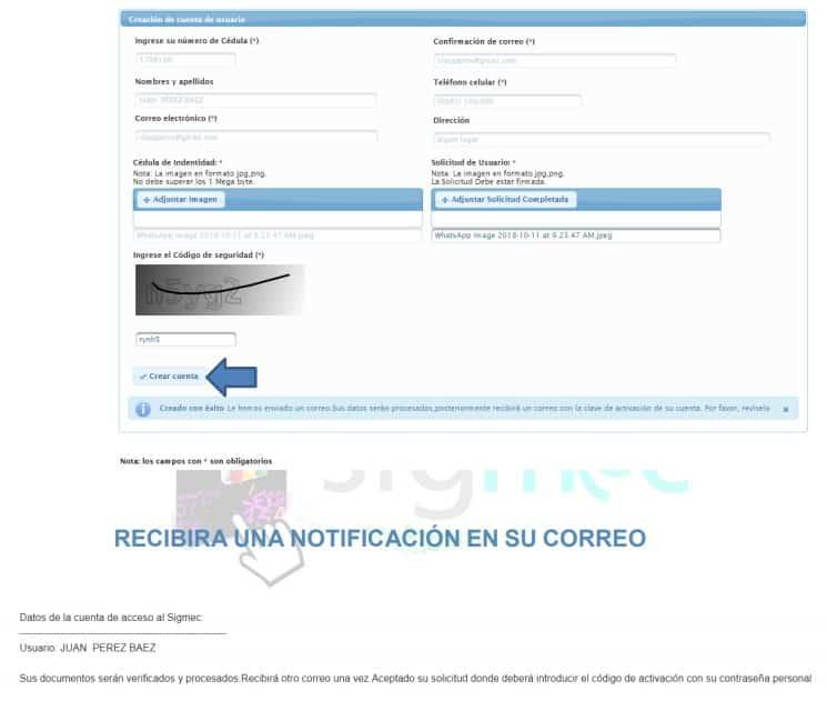 paso 7 acceder a la cuenta SIGMEC del MEC