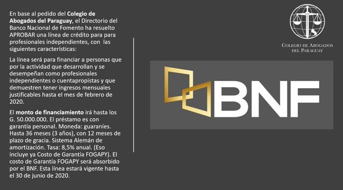 BNF otorgará créditos de hasta G. 50 millones a profesionales