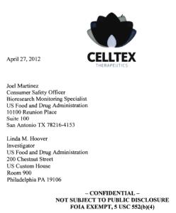 Celltex screenshot letter FDA
