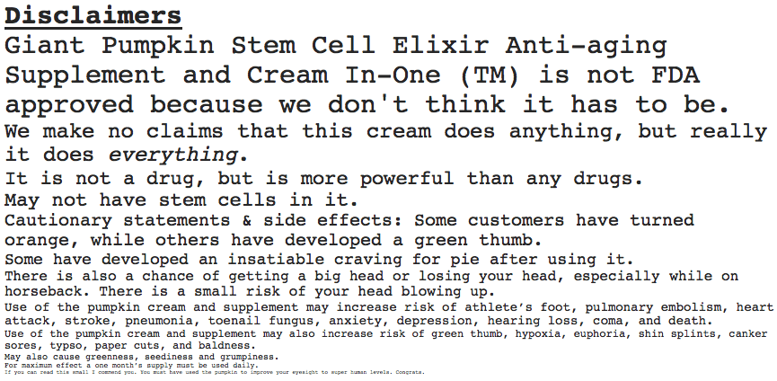 stem cell supplement disclaimers