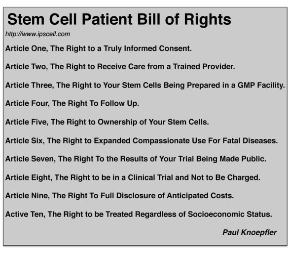 Stem Cell Patients Bill of Rights