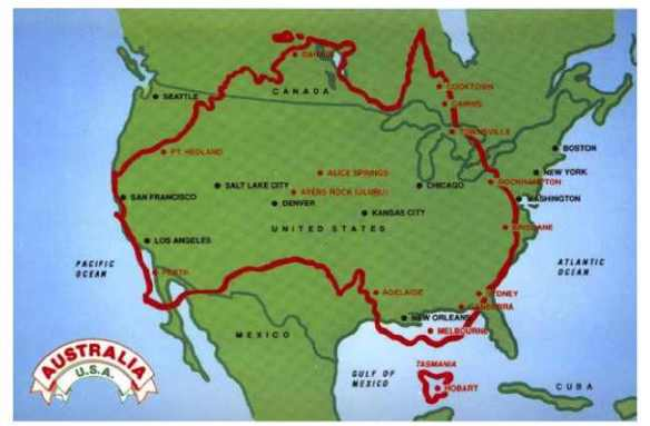 Australia US map